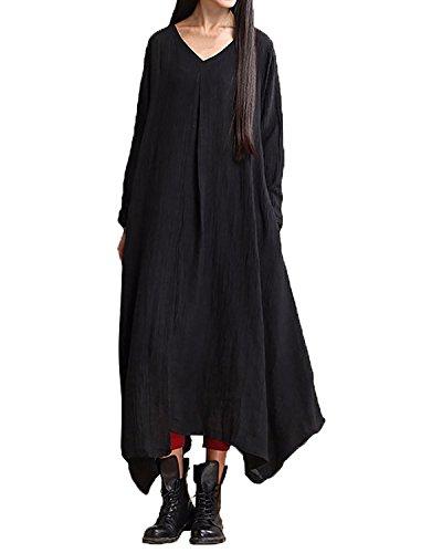 StyleDome Femme Robe Longue Coton Manches Longues Rétro Tunique Casual Lâce Large Robe Maxi Noir