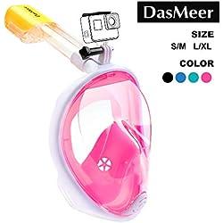 DasMeer Masque de plongée plein visage 180° panoramique, avec technologie antibuée et anti-fuite, avec la Monture pour Caméra Gopro, pour Homme Femme et Enfant.