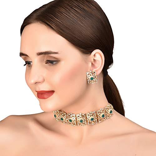 Juego de gargantilla para mujer con diseño de Mughal indio en tono dorado y bollywood rojo de imitación, rubí blanco y diamante