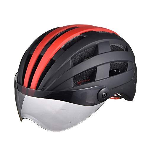 Mit Brille Fahrradhelm gefrostet Helm Skating Helm Männer und Frauen, schwarz rot, 54-63 cm
