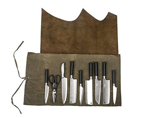 HANSHI Handgefertigt Messertasche Kochtasche Rolltasche aus Leder Wasserdicht Mit Aufbewahrung Funktion HGJ03-H