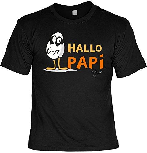 Fun T-Shirt zum Vatertag: Hallo Papi - Geschenk, Geburtstag, Vatertagsausflug - schwarz Schwarz