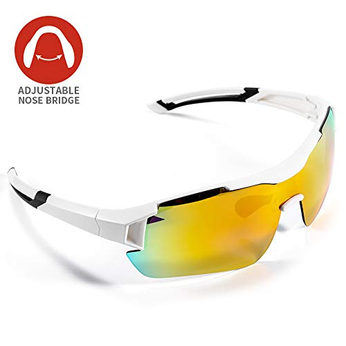 Occhiali da Sole Sportivi Polarizzati,CrazyFire Anti-UV 400 Protezione Ciclismo Occhiali da Sole con 5 Lenti Intercambiabili,Uomo e Donna Antivento Aviatore Specchio per MTB,Bici,Moto,Trekking Casu