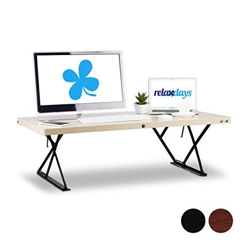 Relaxdays Sitz-Steh-Schreibtisch XXL, höhenverstellbarer Schreibtischaufsatz, ergonomisch, BT: 120x60cm, helle Holzoptik