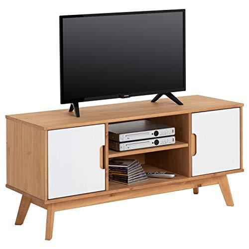 IDIMEX Meuble TV Tivoli Banc télé de 114 cm au Style scandinave Design Vintage Nordique avec 2 Portes et 2 niches, en pin Massif Finition Bois Naturel teinté et lasuré Blanc