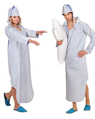 Horror-Shop Kostüm Nachthemd mit Streifen für Fasching XL -