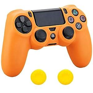 Pandaren® Silikon hülle skin Schutzhülle für PS4 controller (Orange) x 1 + thumb grip aufsätze x 2
