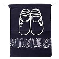 حقائب أحذية للسفر، ملحقات السفر الكبيرة، حقائب أحذية شفافة مقاومة للماء نايلون التعبئة مكعبات الأمتعة المنظم مع الرباط للرجال النساء الأطفال، أدوات المرحاض، الصالة الرياضية، الغسيل الأسود
