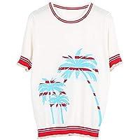 Good dress Patrón de Coco para Mujeres Bloque de Colores Camiseta de Manga Corta Camiseta Fina Fina de Tejido Fino de Hielo, Blanco, l