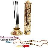 Collectible India Safety Incense Holder Agarbatti Stand With Ash Catcher Raksha Bandhan Rakhi Combo Set For Brother (Large),rakhi gifts for brother, rakhi for brother , raakhi Gift,rakhi gift combo for rakshabandhan,rakhis for rakshabandhan with gift
