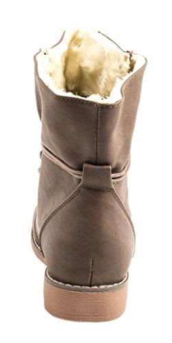 Elara Gefütterte Damen Stiefelette | Biker Boots | Trendy Lederoptik | Warm & Kalt Gefüttert Braun