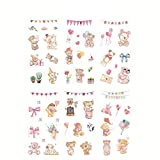 Fansi 6 Feuilles Autocollants Stickers Nourriture, Plante, Animal, Fille, Nourriture, etc. Washi Autocollants Bande Adhésif Deco de DIY Album Manuel Photo Scrapbooking (Style 14)