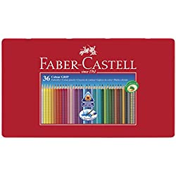 Faber Castell 112435 - Estuche de metal con 36 ecolápices triangulares de colores Grip, acuarelables, lápices escolares, multicolor