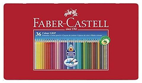 Faber-Castell 112435 Crayon de couleur COLOUR GRIP boîte métal de 36