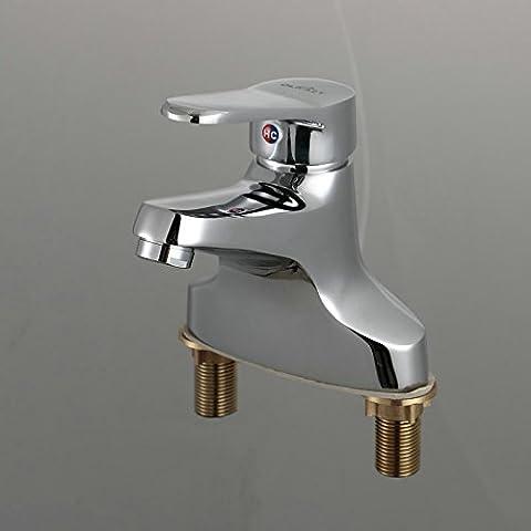 BFDGN Simple Durable y robusto cobre cepilladoDos de la ducha fría y caliente baño minimalista LAVABO lavabo pedestal toca , 2 leadpara el cuarto de baño, cocina, hotel y