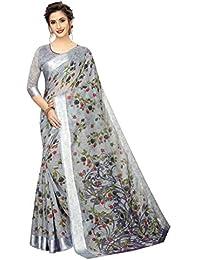PERFECTBLUE Women's Digital Linen Saree with Unstitched Blouse Piece (DigiBlosom)