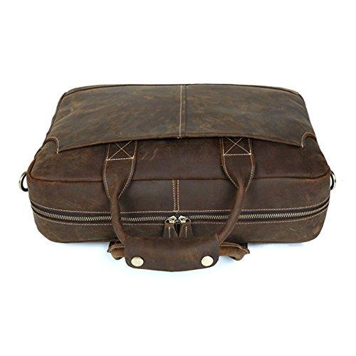 Professionnel Sac Porte-documents en cuir véritable pour ordinateur portable 17 pouces Sac à bandoulière Sac Messenger brown