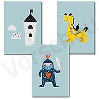 Beau Kinderposter 3er Set | Motiv: Ritter | Kinderzimmer Babyzimmer Bilder |  Poster A4 |