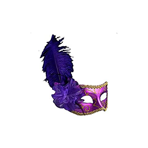 Surker Ostrich Colorful Feather avec Flower Masquerade Mask Party / Halloween MK00045J