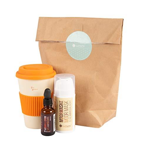 Deluxe Wellness-Geschenk-Set inkl. Moor-Gesichtsmaske (100ml), Vitamin-C Gesichtsserum (30ml) & Kaffeebecher-to-go aus Bambus
