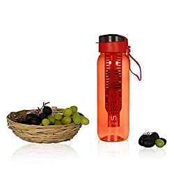 Steelo Plastic Fruit Infuser Bottle, 750ml, Red