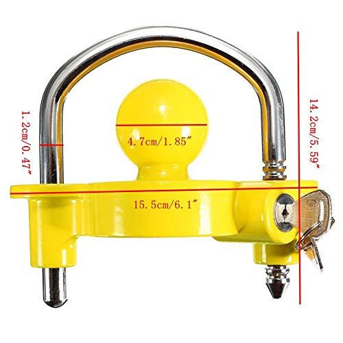 Anhängerschloss für gängige Anhängerkupplung einfache Montage Diebstahlschutz Diebstahl Anhänger Sicherung gelb