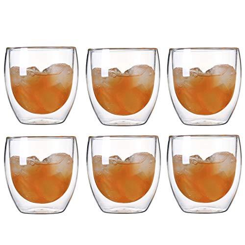 Kaffee Teegläser, doppelwandiges Thermoglas Cappuccino Tassen 250ml/350ml/400ml, 2er Set (250ml(6-teiliges))