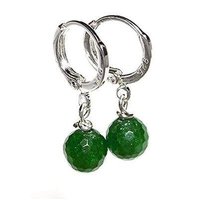 Boucles d'oreilles en Argent Sterling Plaqué de Jade à Facettes Vertes 925 Cadeau Pour Elle