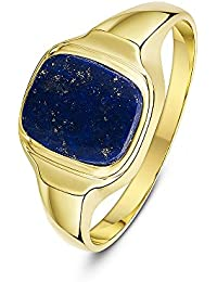 Theia Men's 9 ct Yellow Gold Cushion Shape Hematite, Jade or Lapis Stone Signet Ring with 10 x 8 mm