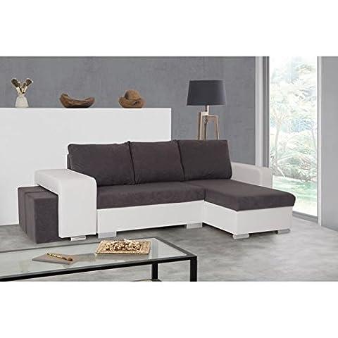 Memphis canapé d'angle réversible convertible en simili et tissu 5 places - 241x89x137 cm - blanc et gris