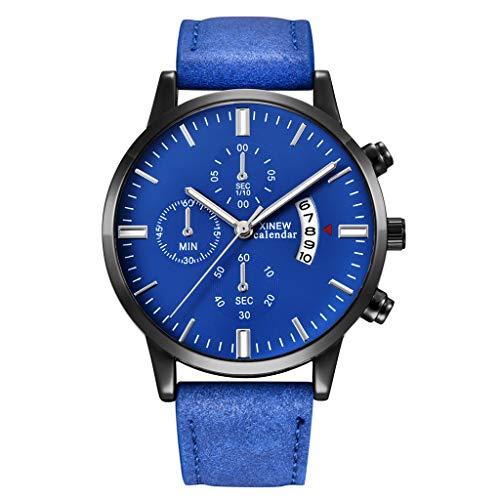 YEARNLY Herren Mode Wasserdichte Männer Militär Sport Chronograph Schwarz Leder Armbanduhr Design Business Datum Kalender Modisch Analog Quarzuhr