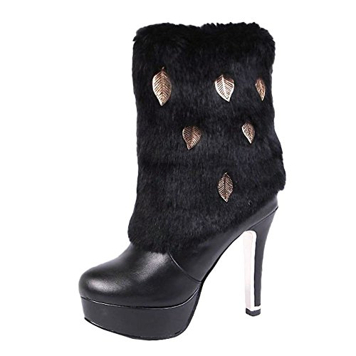 Mee Shoes Damen Pompon Plateau high heels Ankle Boots Schwarz
