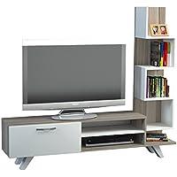 Alphamoebel -Sopporto Tv, Mobile Tv, Porta tv, Parete attrezzata soggiorno Ceren, colore: Bianco/ Cordoba 1773