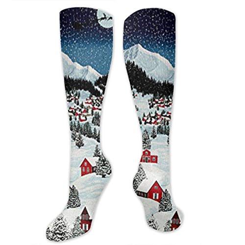 Gped Kniestrümpfe,Socken Bright Night Before Christmas Compression Socks,Knee High Socks,Funny Socks for Women Men - Best Medical,Sports,Running, Nurses,Maternity,Pregnancy,Travel & Flight Socks