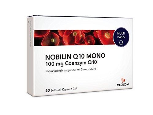NOBILIN Q10 Kapseln hochdosiert, 60 Stück • 100mg pro Tagesdosis • Reines Coenzym Q10 - unterstützt Herz-Kreislaufsystem • Immunsystem & Nerven • für mehr Energie • Anti Aging - Tabletten Made in Germany • Bekannt aus Ihrer Apotheke