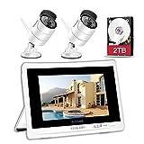 YESKAMO Caméra de Surveillance d'extérieur avec Écran IPS 12 Pouces 4 Canaux et 2 Caméras 1080P WiFi de 2.0 Megapixels Intérieur/Extérieur Disque Dur 2To pour Enregistrer au Format H.265