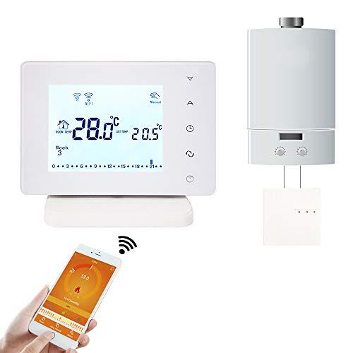 Beok Upgrade BOT306RF-WIFI Termostato Ambiente Wireless RF Programmabile con Ampio Display Touchscreen LCD per Caldaia a Gas Funziona con Google Assistant e Amazon Alexa, Alimentato da CA 200-240 V