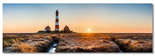 XXL Acyrlglas Panoramafoto, Westerhever Leuchtturm im Sonnenuntergang, Fineart Panoramabild als hochwertiges Wandbild, echter Fotoabzug unter Acrylglas auf Original Alu Dibond ©