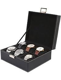 Femor Caja para relojes Estuche para guardar Joyerías Soporte de Exhibición de Relojes Pulsera PU Negro (6 Compartimentos (2x3) Negras Almohadillas Negras)