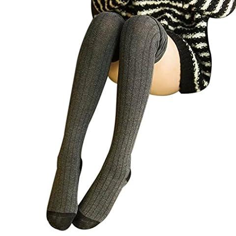 OverDose Femmes Hiver tricoté au-dessus du genou Bottes longues Chaussettes chaudes Chaussettes Leggings (Gris)