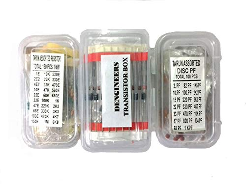 Generic CRT01 Dengineers Crt Capacitor-Resistor-Transistor Kit 60 Values, 310 Piece Components Box Pack For Engineering Projects, Diy Models Etc