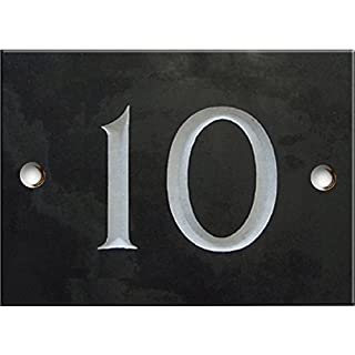 Engraved Slate House number sign - 1 to 99 (select your number here) - number 10 (Same Day Dispatch by 1st class Post!!!)