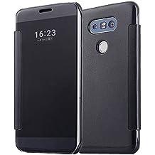 Housse LG G5,Grandcaser Etui de Protection Folio Clear View Spéculaire Coque pour LG G5 (2016)-Noir