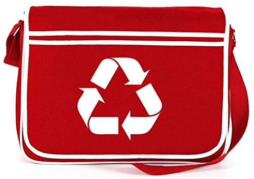 Shirtstreet24, Simbolo Del Riciclaggio, Borsa A Tracolla Retro Messenger Borsa A Tracolla Rossa