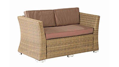 baumarkt direkt Loungesofa Luxor, Polyrattan, inkl. Auflage, braun 133 cm, dunkelbeige