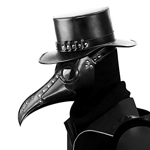 Umiwe Plague Doctor Mask, Halloween Scary Maske Pest-Maske Doktor Arzt Kopfmaske Party Fasching Cosplay Venedig-Maske Karneval PU Verkleidung (Schwarz 4)