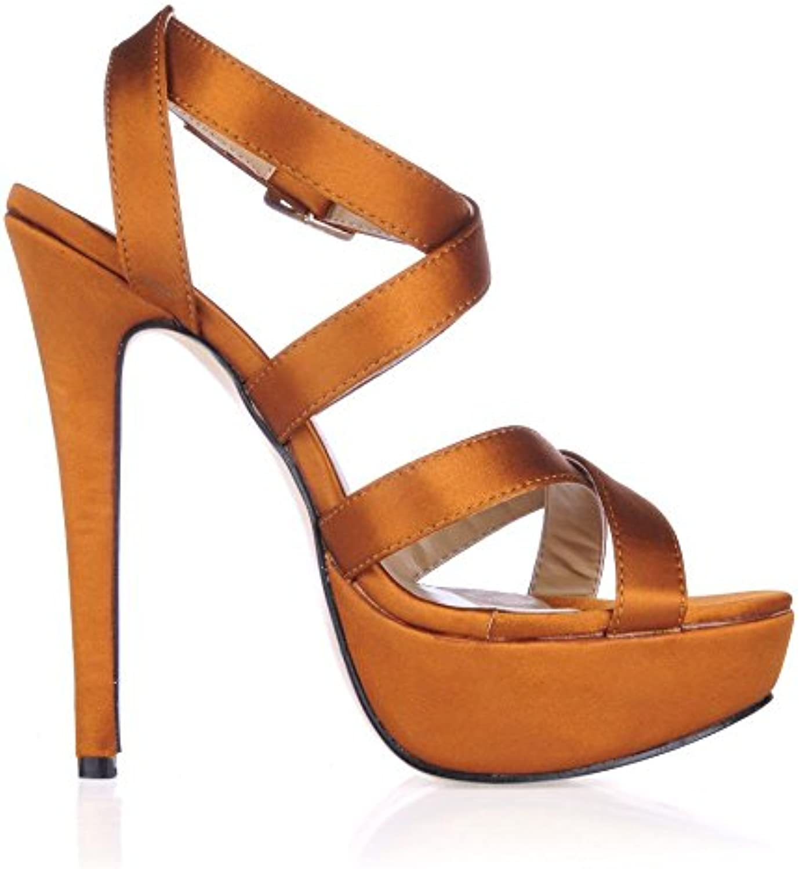 Best 4U® Frauen High Heels Stiletto Gummisohle Satin Peep Toe 12CM Fersen Frühling Herbst Schuhe Orange
