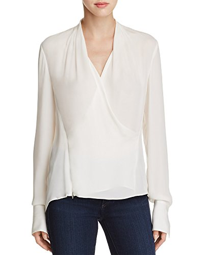 Elie Tahari Women's Shelly Faux Wrap Silk Blouse Natural XS