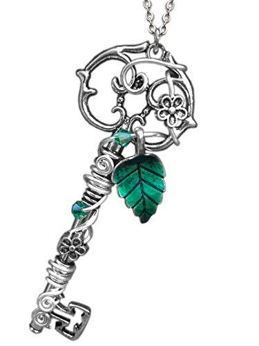 Katharina Fairytale - Cadena para mujer y niña, diseño de llave de marfil, amuleto de la suerte, talismán, 001 hojas, color verde
