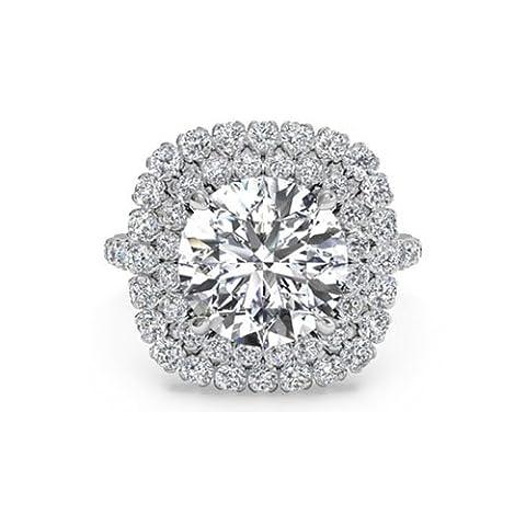 1,40ct Diamant Jahrestag Ring rund Halo Cut Solide 14K Weiß Gold Lab Erstellt Diamant Größe I, J, K L M N - 57 (18.1)